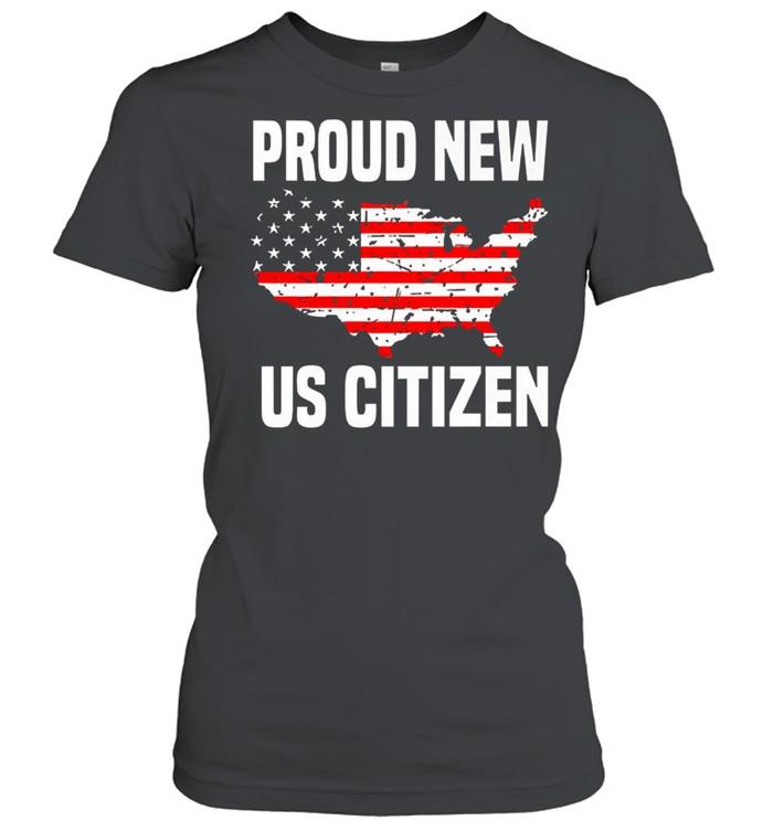 Proud new US citizen Red line flag shirt Classic Women's T-shirt