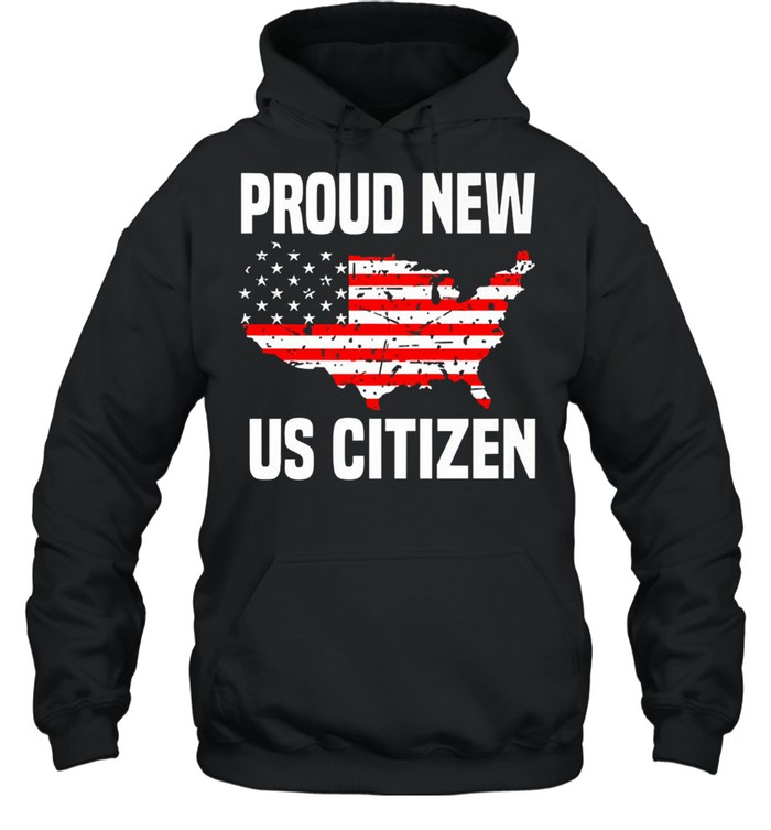 Proud new US citizen Red line flag shirt Unisex Hoodie