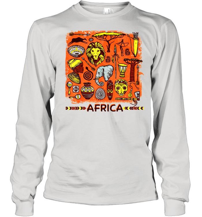African Mask Art American Beautiful Black History BLM shirt Long Sleeved T-shirt