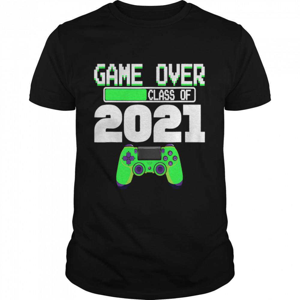 Game Over Class of 2021 Video Games Graduation Gamer Boy Shirt