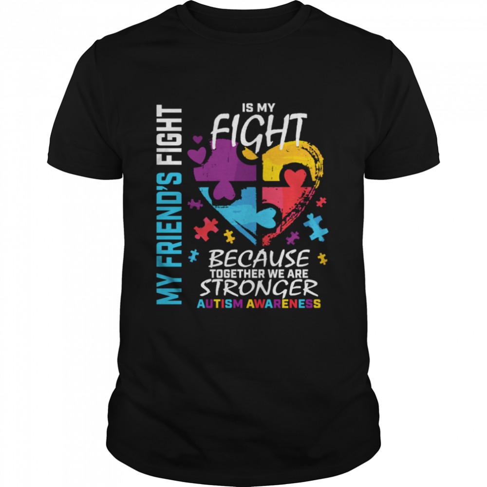 Puzzle Heart Blue Friend Autism Awareness Shirt
