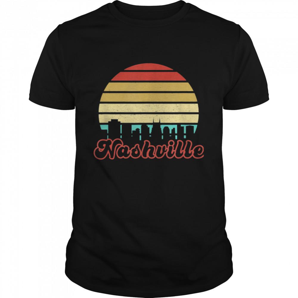 Tennessee City Skyline Art Vintage Retro Sunset Nashville shirt