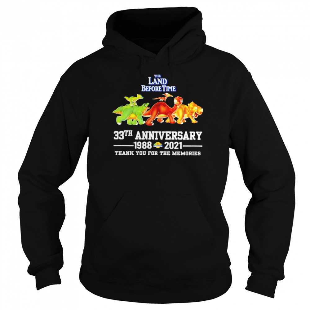 The land before time 33th anniversary 1988-2021 thank you for the memories shirt Unisex Hoodie