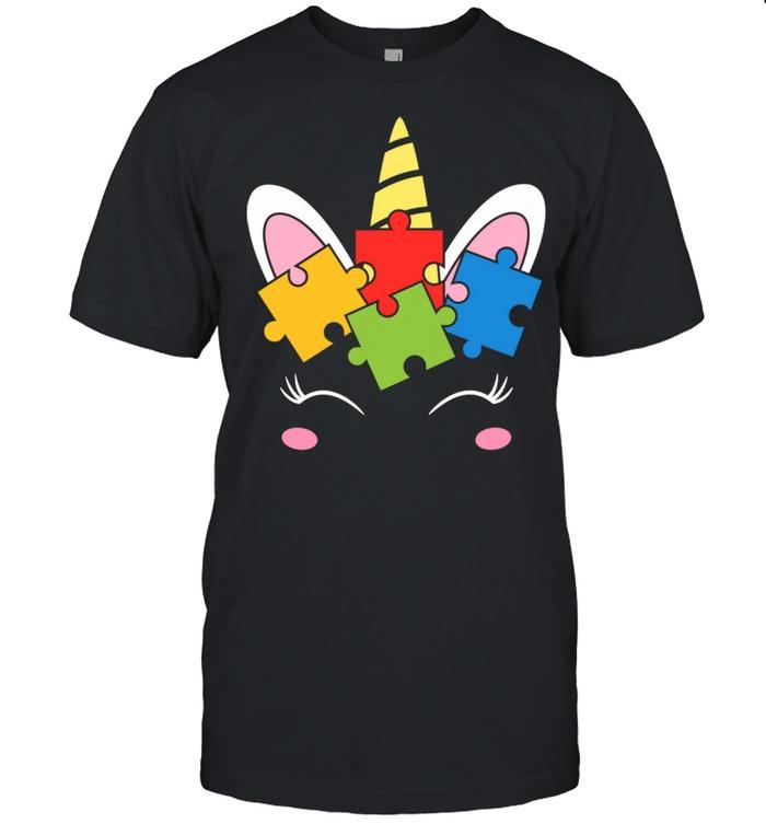 Unicorn Autism Awareness Puzzle Pieces Girls Shirt
