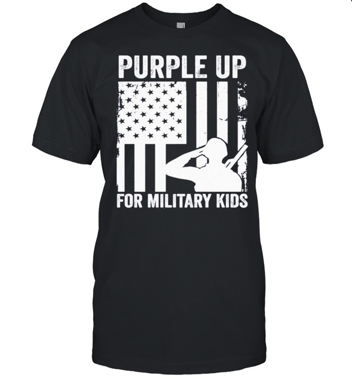 Purple up for military kids American flag shirt