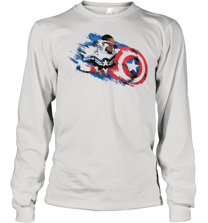 Marvel The Falcon the Winter Soldier Captain America Paint  Long Sleeved T-shirt