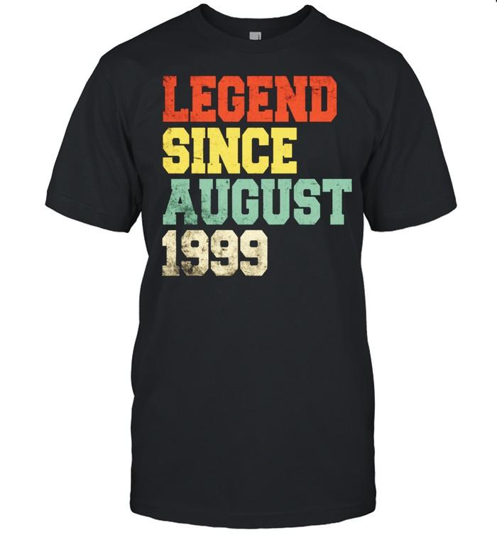22nd Vintage Legend August 1999 Birthday 22 Years Old shirt
