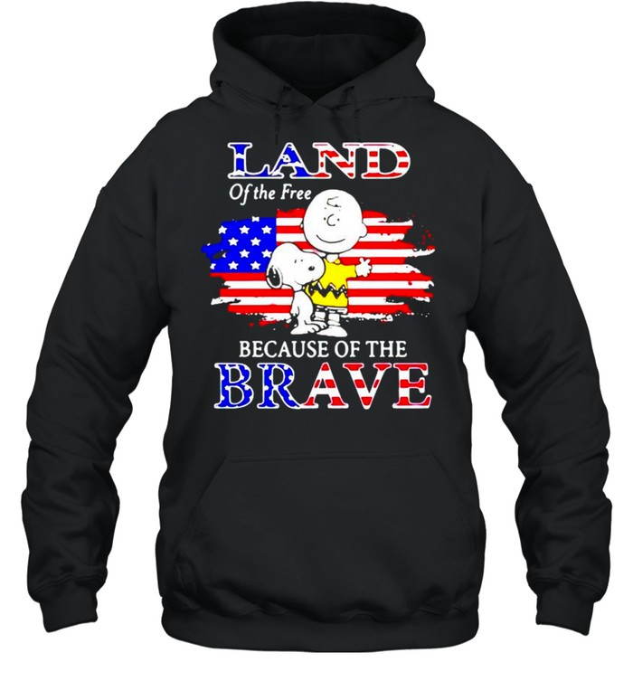 Snoopy land of the free because of the brave shirt Unisex Hoodie