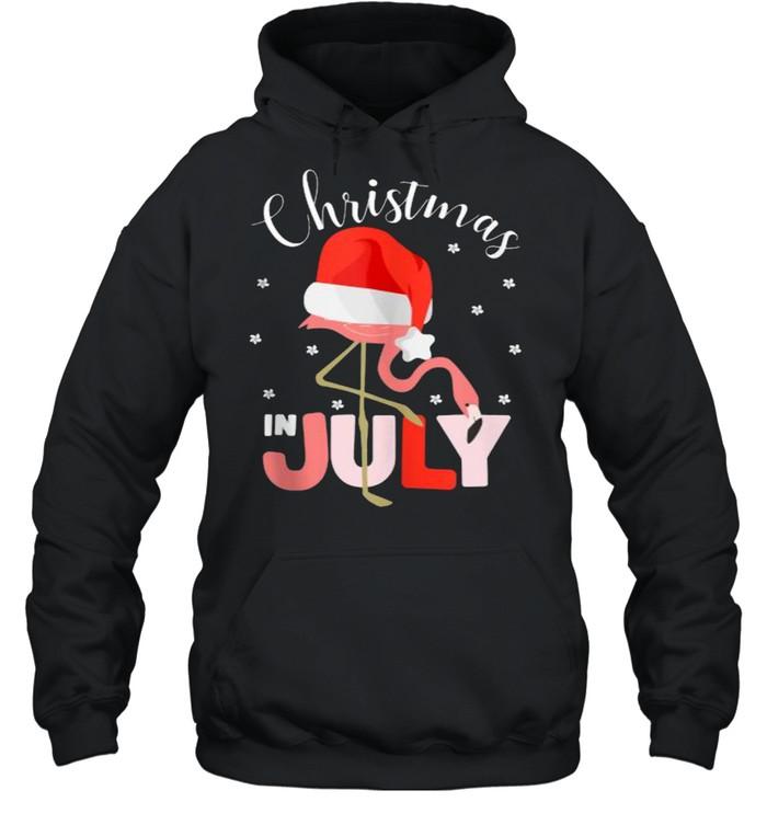 Christmas in July Flamingo Santa hat  Unisex Hoodie