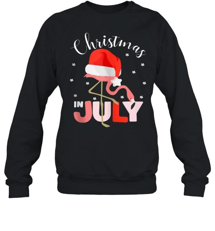 Christmas in July Flamingo Santa hat  Unisex Sweatshirt