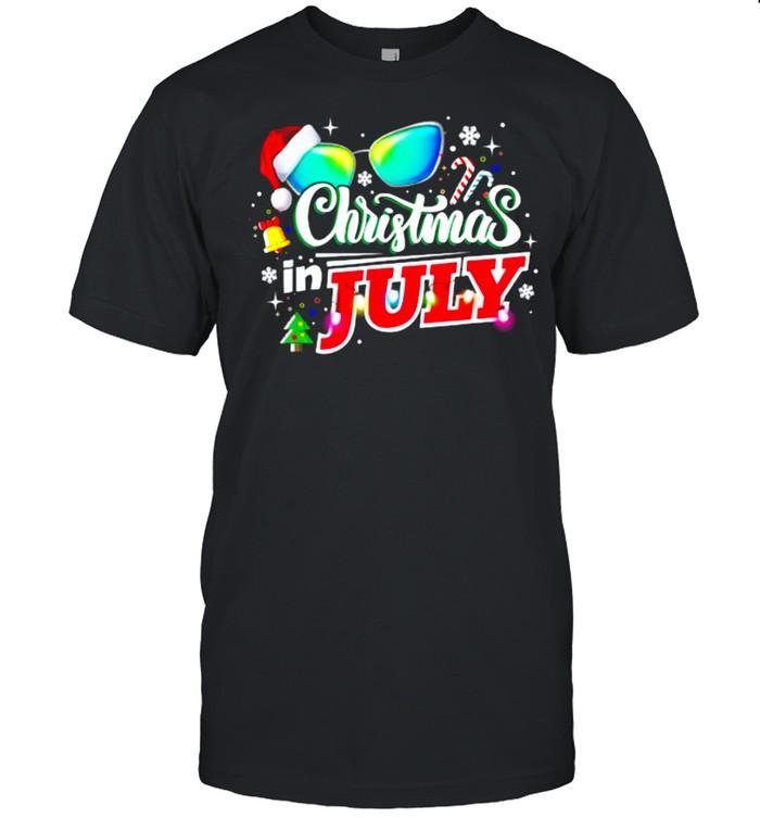 Christmas In July Santa Hat Sunglasses Summer T-Shirt