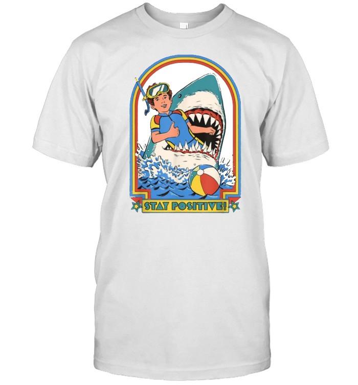 Stay Positive Shark Attack Vintage Retro T-Shirt
