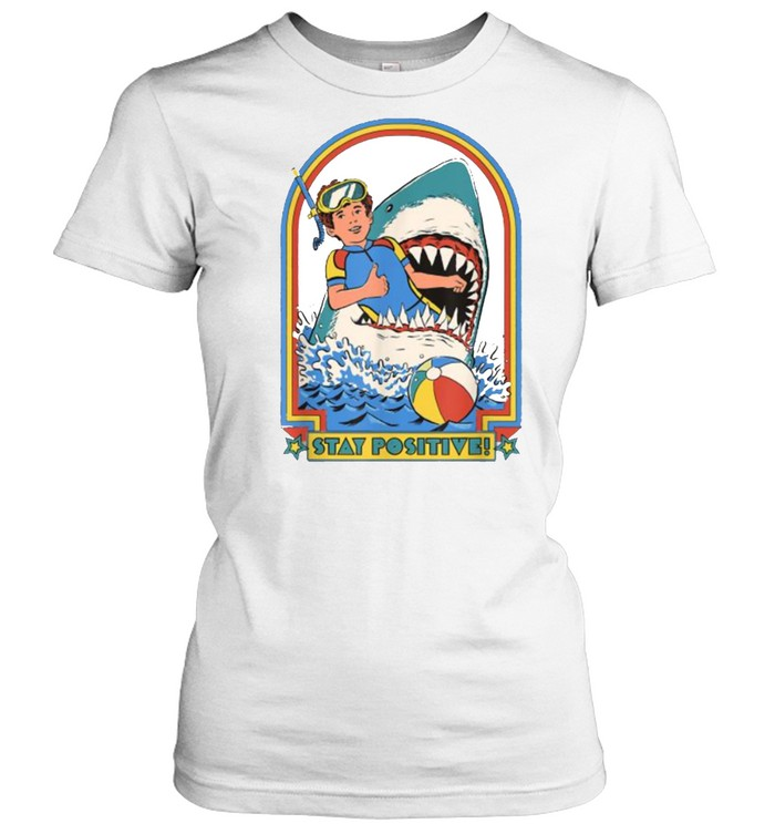 Stay Positive Shark Attack Vintage Retro T- Classic Women's T-shirt