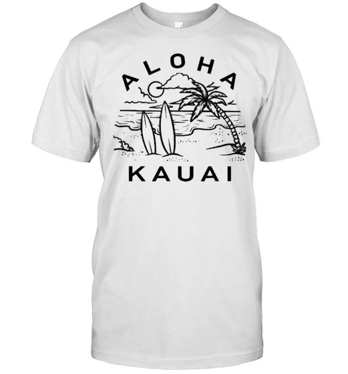Aloha Kauai Hawaii Hawaiian Island Palm Tree Surfboard Beach T-Shirt