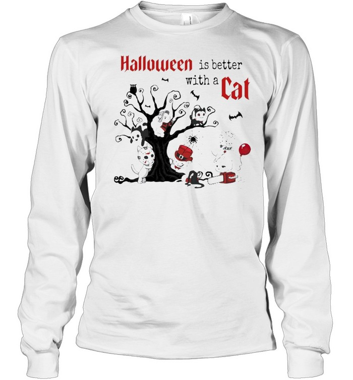 Halloween Is Better with a Cats Horror Characters On Tree  Long Sleeved T-shirt