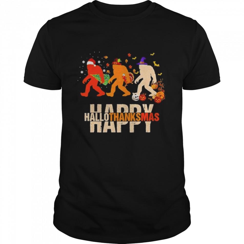 Bigfoot happy hallothanksmas Halloween shirt